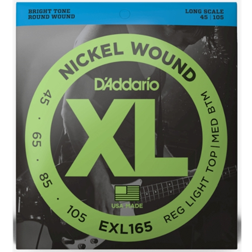 D'Addario EXL165 Reg Light Top/Med Btm Nickel Wound Strings