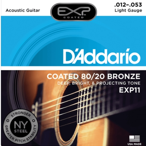 D'Addario EXP Coated 80/20 Bronze Light Gauge Guitar Strings